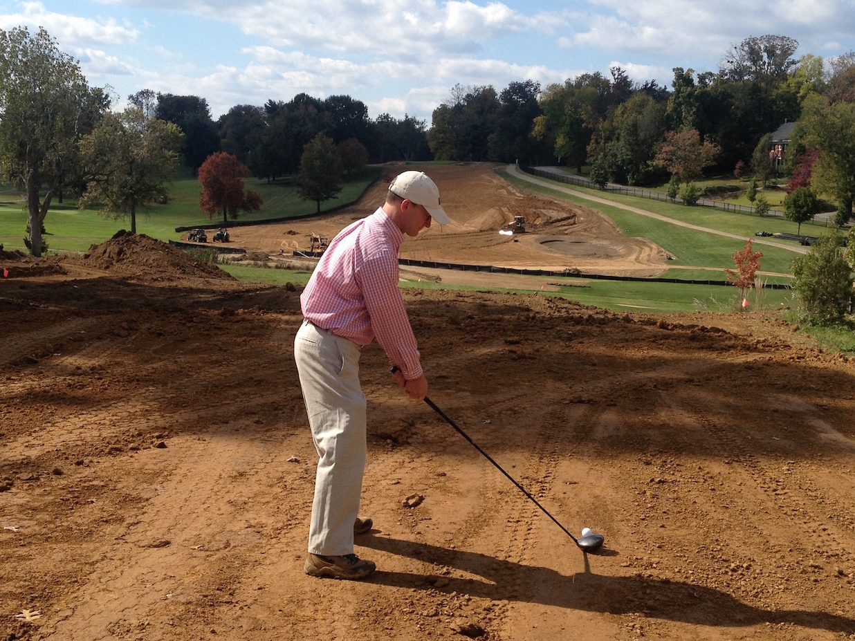 Spencer Holt testing the bunker strategy during the recent renovation of hole 8 at Audubon Country Club, Louisville, Kentucky