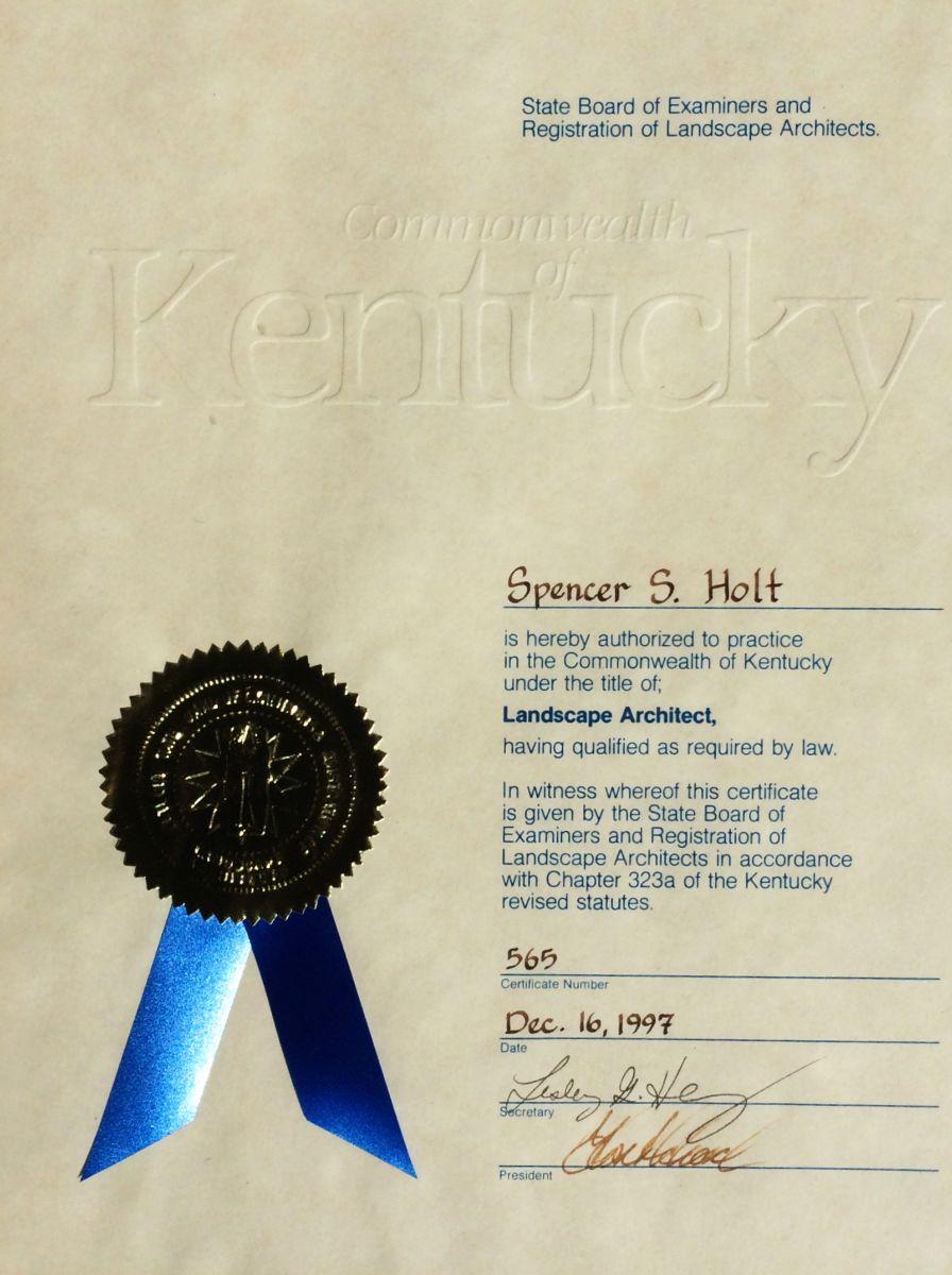 Registered Landscape Architect, Kentucky 1997